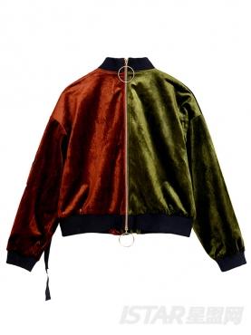 时尚前卫款撞色不对称绑带短棒球服外套