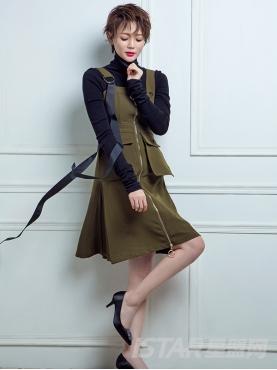 吊带修身长拉链装饰个性大口袋连衣裙