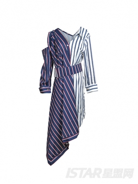 拼色条纹不规则衬衫连衣裙中长款系腰带V领气质露肩裙子