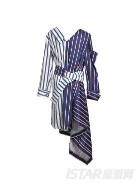 拼色条纹不规则衬衫连衣裙中长款系腰带V领气质露肩裙