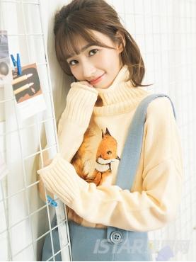 可爱狐狸图案尾巴毛绒装饰舒适羊毛针织衫