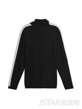 时尚黑白拼色字母装饰舒适休闲针织高领衫