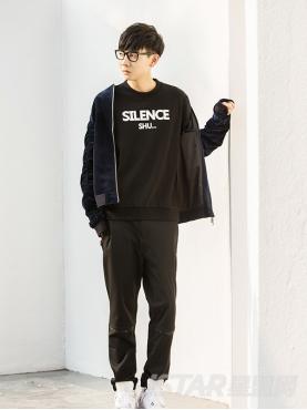 经典黑个性隐形字母条分割装饰简约运动休闲裤
