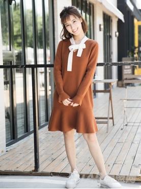 优雅荷叶边个性飘带舒适针织休闲连衣裙