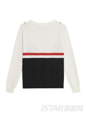 时尚假两件圆领套头短款修身羊毛针织衫