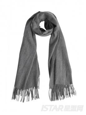优雅灰浪漫流苏装饰纯色舒适保暖羊毛围巾