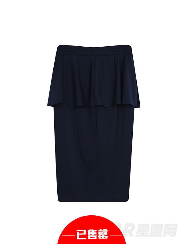 高腰荷叶边包臀半身裙