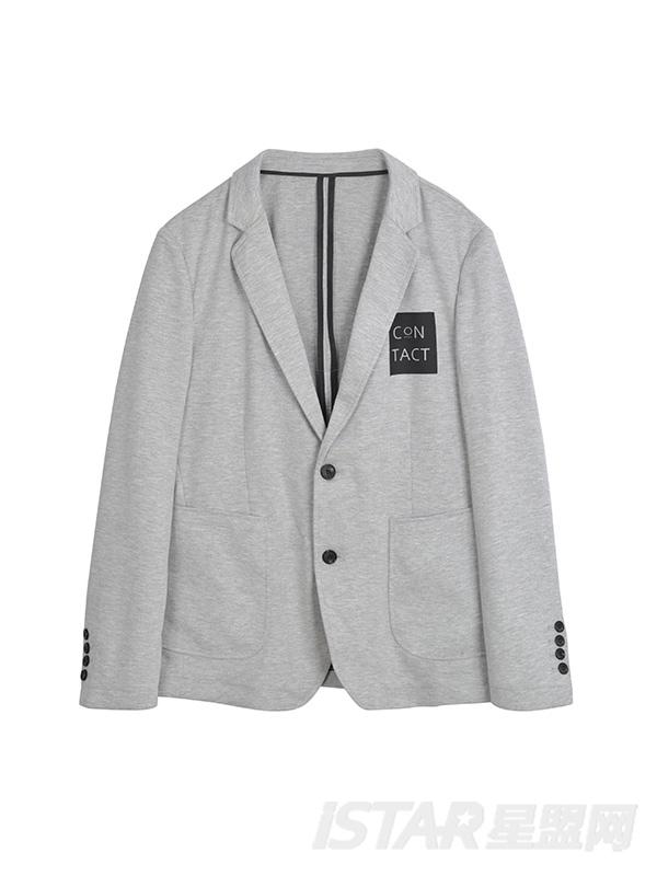 胸前字母设计休闲西装外套
