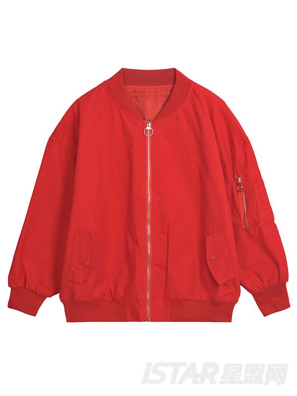 红色棒球服外套