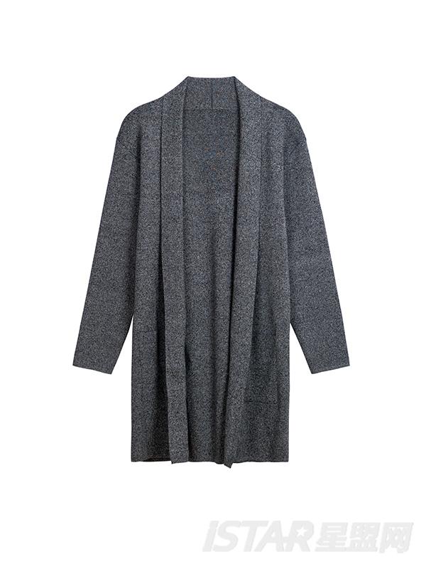 灰色长款外套