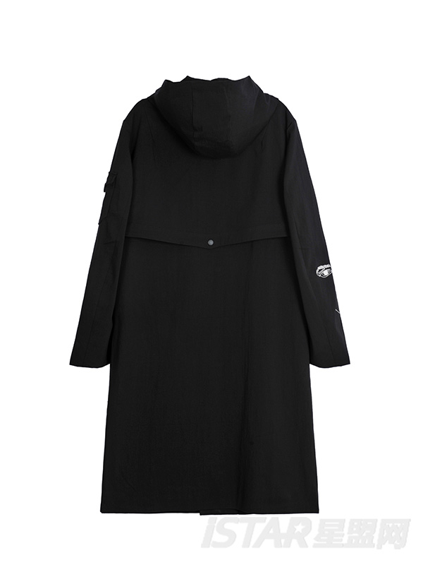 刺绣长款黑色街头时尚外套