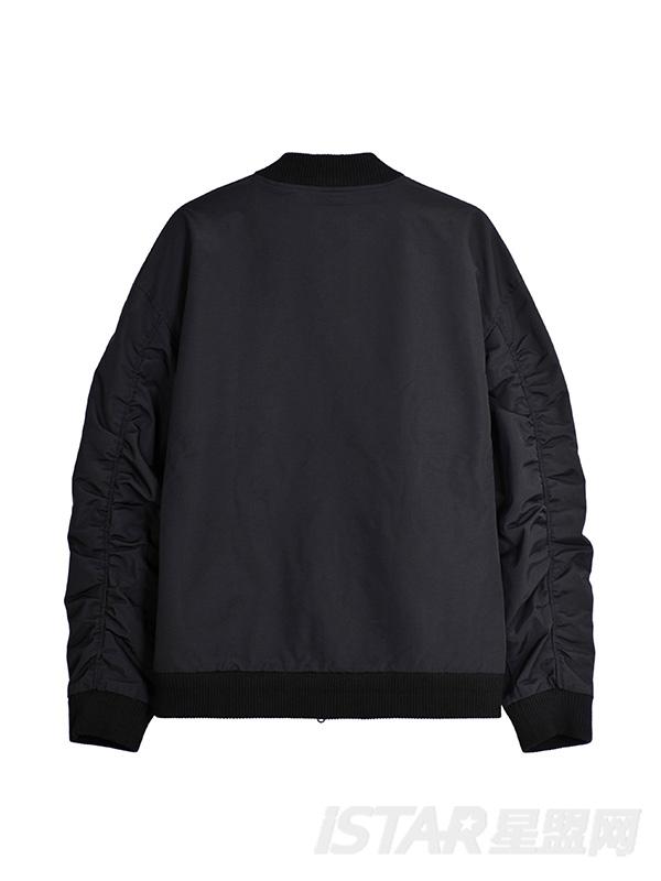 字母织带手臂褶皱黑色短夹克