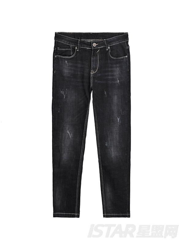 洗水磨毛牛仔裤