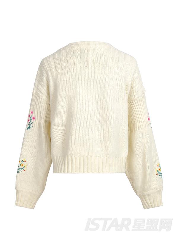 植物针织套头针织衫