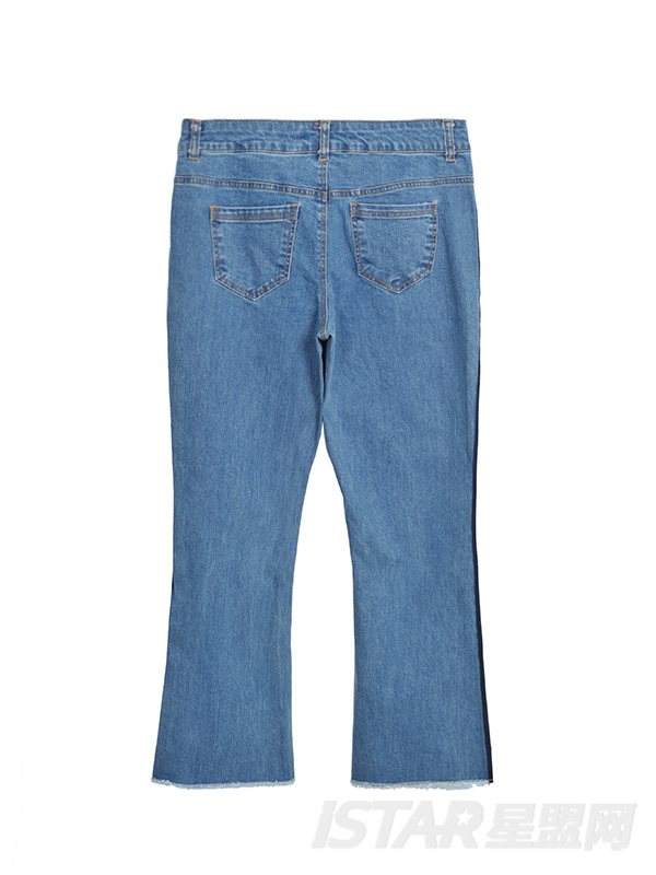 条纹牛仔裤