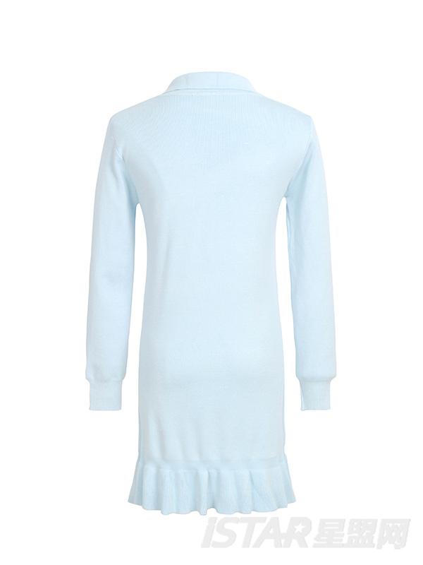 蓝色蝴蝶结连衣裙