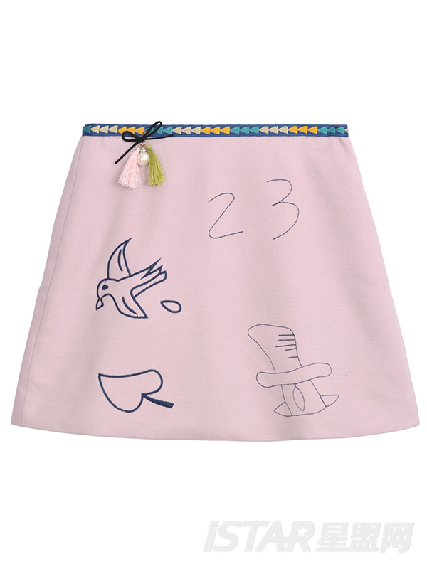 可爱刺绣图案短裙