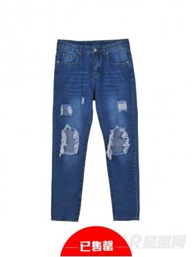 牛仔蓝宽松撕边破洞牛仔裤