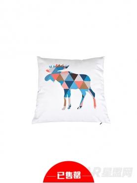 撞色创意几何拼图麋鹿抱枕