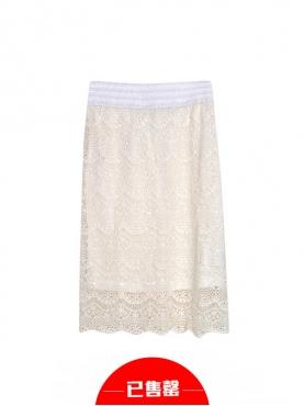 优雅镂空钩花包臀半身裙