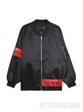 黑色印花外套