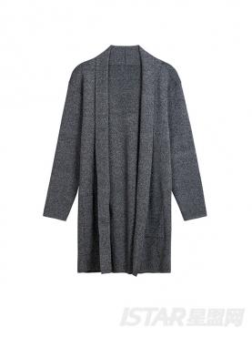 经典灰舒适开衫简约长款休闲针织外套