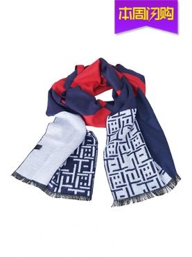 红蓝撞色个性舒适时尚优雅秋冬围巾