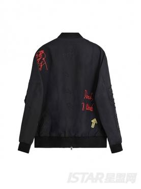 @董岩磊 个性涂鸦式刺绣装饰时尚棒球夹克舒适保暖短外套