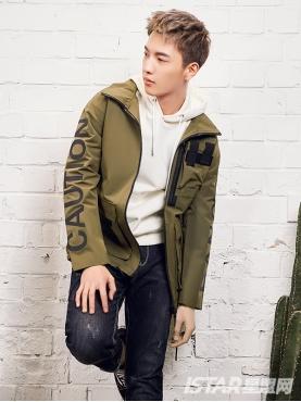 个性立体胶印字母装饰时尚军绿短风衣外套
