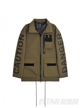 @董岩磊 个性立体胶印字母装饰时尚军绿短风衣外套