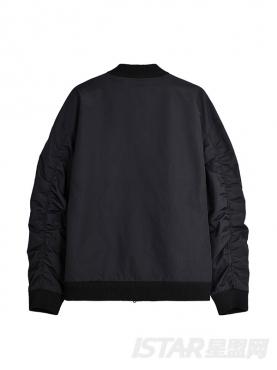 @董岩磊 经典黑时尚品牌logo字母织带装饰休闲酷感棒球服短夹克