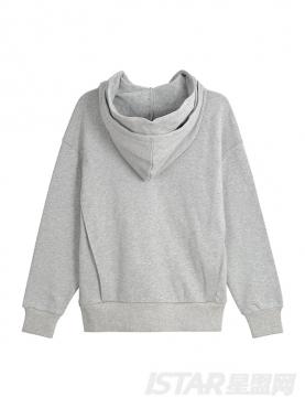 贴布撞色灰色磨毛卫衣