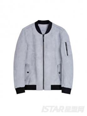 灰色夹克棒球风外套