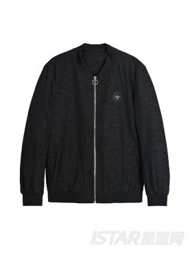 经典黑舒适简约休闲夹克外套