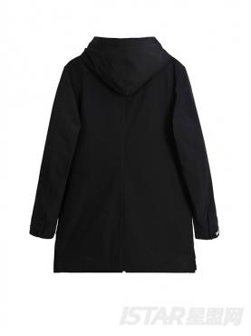经典黑休闲长款个性字母装饰时尚连帽外套