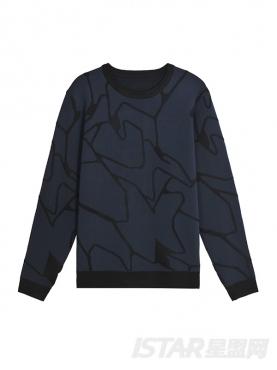 个性抽象条纹印花装饰休闲圆领秋冬款时尚套头卫衣