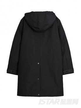 @董岩磊 个性不对称印花装饰中长款黑色连帽保暖百搭羽绒服