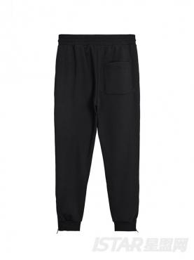 @董岩磊 经典百搭黑色个性字母印花装饰舒适运动休闲裤
