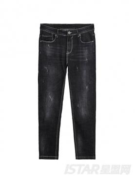 @董岩磊 百搭黑色个性水洗磨毛直筒修身舒适时尚牛仔裤