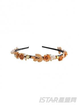 巴洛克奢华复古金属树叶手工珍珠发箍