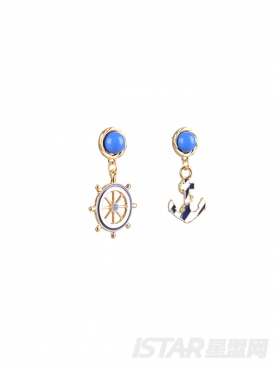 经典海军风优雅蓝色耳环耳饰