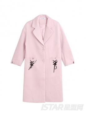 优雅粉个性绑带装饰长款保暖秋冬休闲外套