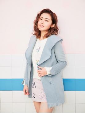 清爽蓝甜美荷叶边衣领秋冬舒适保暖休闲时尚大衣外套