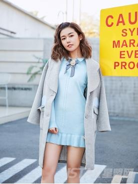 个性灰蓝撞色舒适长款休闲时尚外套