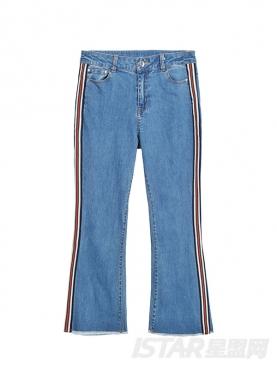 @蒋赫 个性彩色条纹装饰毛边7分时尚舒适宽松牛仔裤