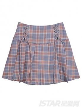 经典格子撞色拼接个性绑带蝴蝶结装饰舒适纯棉百褶半裙