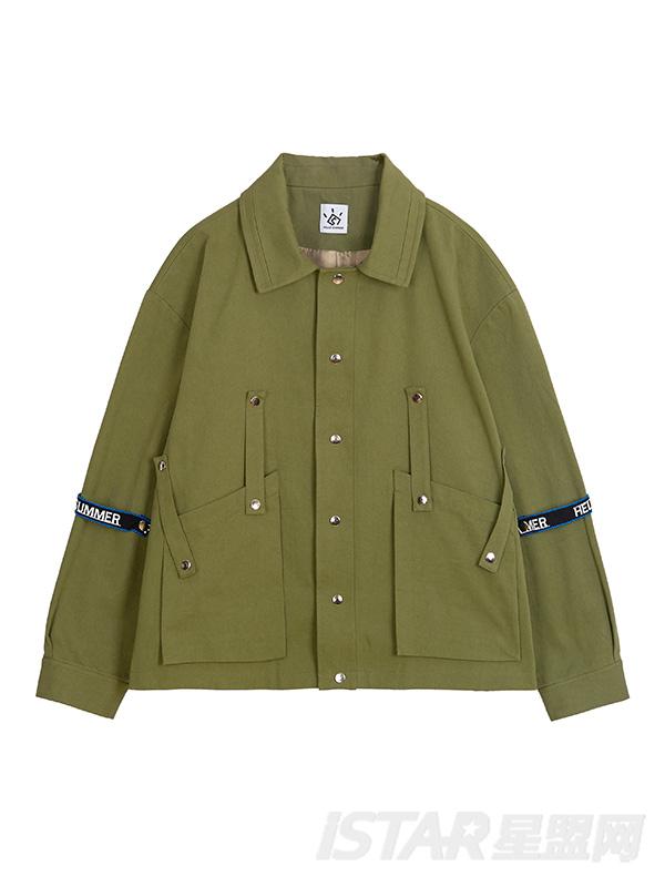 绑带短款军绿短外套