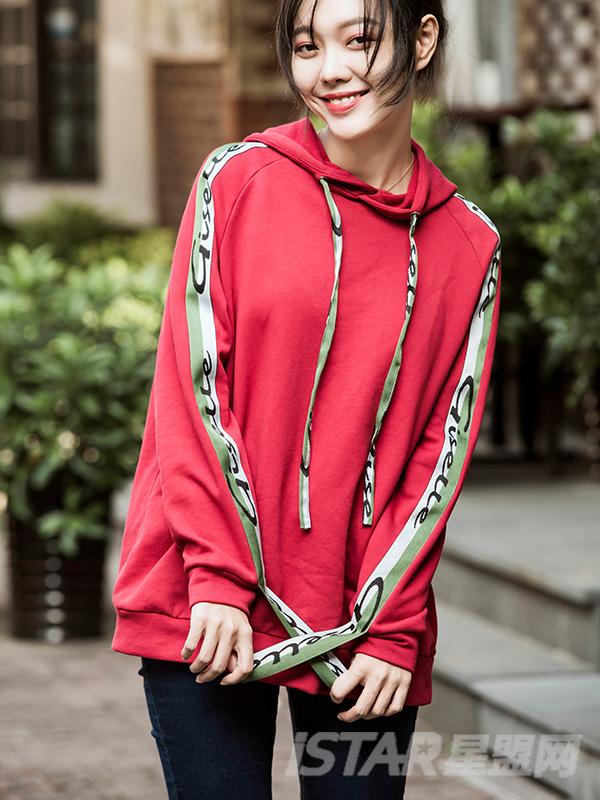 自制原创设计品牌纯色撞色织带连帽卫衣