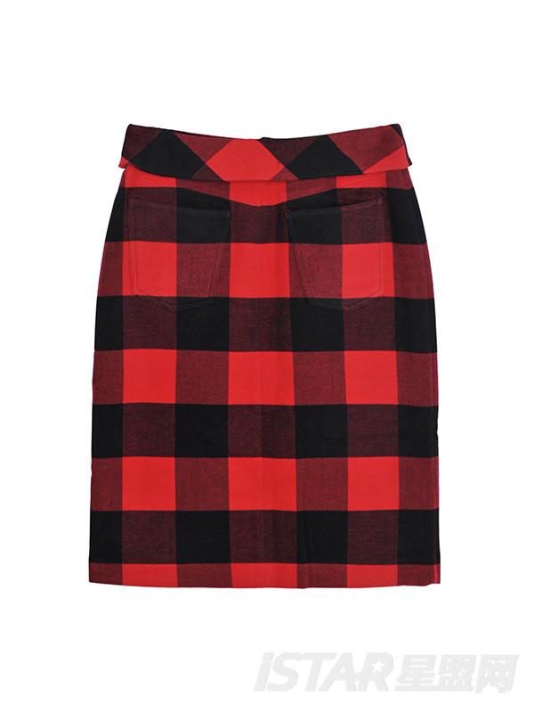 高腰翻边格纹短裙