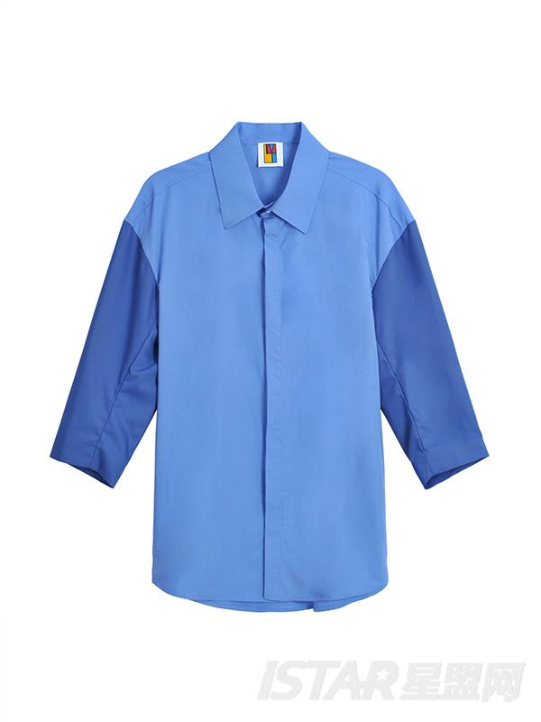 欧美风宽松落肩撞色拼接七分袖衬衣